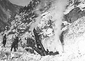 D&amp;RGW ditcher #OX clearing Animas Canyon snow.<br /> D&amp;RGW  Animas Canyon, CO