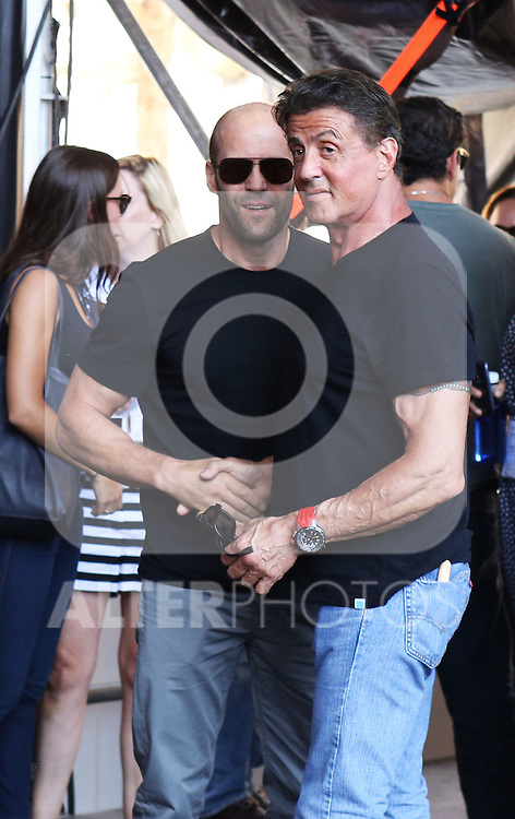Kellan Lutz, Wesley Snipes, Jason Statham, Sylvester Stallone and Antonio Banderas present the film ´The Expendables 3'. In the Pic: Jason Staham and Silvester Stallone, in Marbella, Spain. August, 5 of 2014. (ALTERPHOTOS/Carlos Dafonte)