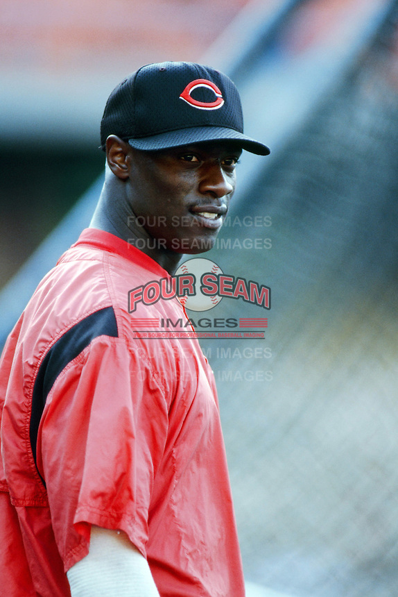 Mike Cameron of the Cincinnati Reds before a 1999 Major League Baseball season game against the Los Angeles Dodgers in Los Angeles, California. (Larry Goren/Four Seam Images)