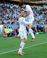 Valter Birsa of Slovenia celebrates his goal with team-mate Aleksander Radosavljevic