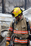 A firefighter at a fire scene