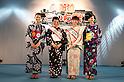 "July 27 2012, Tokyo, Japan  (L to R) The winner of ""Shimbashi Net Award"" Lisa Kikukawa, the winner Shoko Kondo, the runner-up Manamy Fujimoto and the Judges Speacial award Lisa Kikukawa at Yukata Beauty Contest in Koichi Festival. Shoko Kondo, one of the 10 finalists of 270 candidates, wins the annual Yukata Beauty Festival at Koichi Festival in Shimbashi, Tokyo. (Photo by Rodrigo Reyes Marin/AFLO).."
