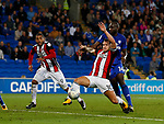 Billy Sharp of Sheffield Utd gets in front of Souleymane Bamba of Cardiff City during the Championship match at the Cardiff City Stadium, Cardiff. Picture date: August 15th 2017. Picture credit should read: Simon Bellis/Sportimage