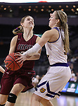 SIOUX FALLS, SD: MARCH 7: Olivia Braun #3 of Western Illinois reaches on Allex Brown #35 of IUPUI  during the Women's Summit League Basketball Championship Game on March 7, 2017 at the Denny Sanford Premier Center in Sioux Falls, SD. (Photo by Dick Carlson/Inertia)