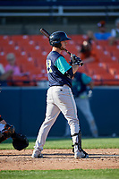 Lynchburg Hillcats designated hitter Trenton Brooks (13) at bat during the first game of a doubleheader against the Frederick Keys on June 12, 2018 at Nymeo Field at Harry Grove Stadium in Frederick, Maryland.  Frederick defeated Lynchburg 2-1.  (Mike Janes/Four Seam Images)