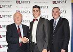 27/10/2015   With Compliments.  Attending the GAA High Performance Scholarships 2015-2016 in the Castletroy Park Hotel were Robert Frost, GAA, Munster Council Chairman who presented the Munster GAA Bursary to recipient Cathal Long, An Ghaeltacht, Kerry.  Also in the photograph is UL President Professor Don Barry.  Photograph: Liam Burke/Press 22