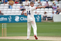 Jamie Porter of Essex celebrates taking the wicket of Jamie Overton during Essex CCC vs Somerset CCC, Specsavers County Championship Division 1 Cricket at The Cloudfm County Ground on 25th June 2019