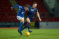 29th December 2019; McDairmid Park, Perth, Perth and Kinross, Scotland; Scottish Premiership Football, St Johnstone versus Ross County; Murray Davidson of St Johnstone challenges for the ball with Iain Vigurs of Ross County  - Editorial Use