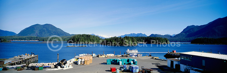 Tofino, BC, Vancouver Island, British Columbia, Canada - Waterfront Industry and Panoramic View of Tofino  Harbour and Insular Mountains