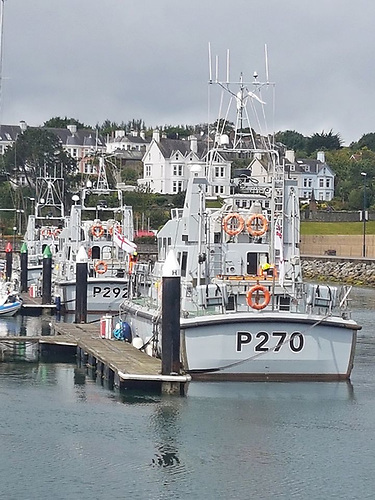 Three naval ships, HMS Biter, HMS Charger and HMS Express docked at Bangor marina