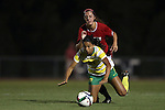 04 September 2015: Oregon's Marissa Everett (21) is knocked down by NC State's Taylor Porter (behind). The North Carolina State University Wolfpack hosted the Oregon University Ducks at Dail Soccer Field in Raleigh, NC in a 2015 NCAA Division I Women's Soccer game. NC State won the game 2-0.
