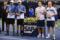 24 February 2008: Former Stanford players Mike Bryan (far left) and Bob Bryan (second from left) of the United States and Scott Lipsky (second from right) and David Martin (far right) of the United States after their SAP Open final.  Lipsky and Martin won, 7-6, 7-5, at the HP Pavilion in San Jose, CA.