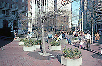 San Francisco:  Bart Station Plaza, Post St. at Market, street sculpture, etc.  Photo '83.