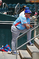 Tennessee Smokies manager Buddy Bailey (26) in the dugout during a game against the Jacksonville Suns at Bragan Field on the Baseball Grounds of Jacksonville on June 13, 2015 in Jacksonville, Florida.  Tennessee defeated Jacksonville 12-3. (Robert Gurganus/Four Seam Images)