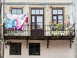 Drying laundry on a balcony along the historic streets of Veliko Tarnovo, Bulgaria