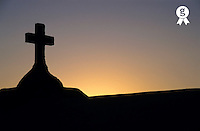 Silhouette of a cross on grave in the Marine cemetery at sunset, Bonifacio, Corsica island,  France (Licence this image exclusively with Getty: http://www.gettyimages.com/detail/82406702 )