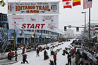 Saturday March 6 , 2010  Chicago musher Pat Moon leaves the start line on 4th avenue during the ceremonial start of the 2010 Iditarod in Anchorage , Alaska