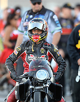 Oct 29, 2016; Las Vegas, NV, USA; NHRA pro stock motorcycle rider Angie Smith during qualifying for the Toyota Nationals at The Strip at Las Vegas Motor Speedway. Mandatory Credit: Mark J. Rebilas-USA TODAY Sports