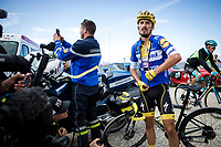 Yellow Jersey Julian Alaphilippe (FRA/Deceuninck Quick Step) post race recovering  atop La Planche des Belles Filles. <br /> <br /> Stage 6: Mulhouse to La Planche des Belles Filles (157km)<br /> 106th Tour de France 2019 (2.UWT)<br /> <br /> ©kramon