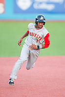 Amed Rosario (1) of the Brooklyn Cyclones hustles towards third base against the Hudson Valley Renegades at Dutchess Stadium on June 18, 2014 in Wappingers Falls, New York.  The Cyclones defeated the Renegades 4-3 in 10 innings.  (Brian Westerholt/Four Seam Images)