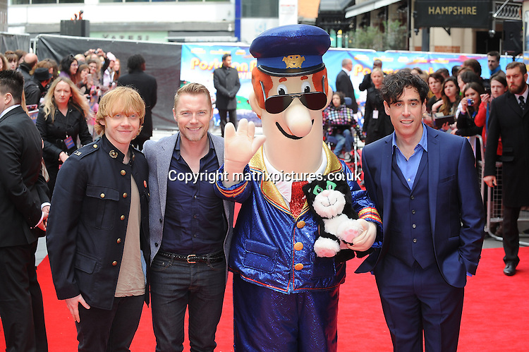 NON EXCLUSIVE PICTURE: PAUL TREADWAY / MATRIXPICTURES.CO.UK<br /> PLEASE CREDIT ALL USES<br /> <br /> WORLD RIGHTS<br /> <br /> Rupert Grint, Ronan Keating and Stephen Mangan attend the World Premiere of Postman Pat: The Movie, Odeon West End, London.<br /> <br /> MAY 11th 2014<br /> <br /> REF: PTY 142244