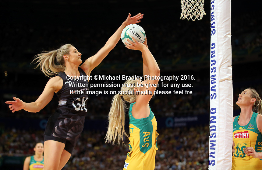 09.10.2016 Silver Ferns Jane Watson and Australia's Gretal Tippett in action during the Silver Ferns v Australia netball test match played at Qudos Bank Arena in Sydney. Mandatory Photo Credit ©Michael Bradley.