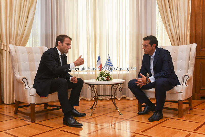 Pictured: French President Emmanuel Macron meets Greek Prime Minister Alexis Tsiptas at Megaro Maximou (Maximou Mansion) in Athens, Greece. Thurday 07 September 2017<br /> Re: French President Emmanuel Macron state visit to Athens, Greece.