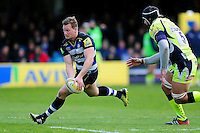 Chris Cook of Bath Rugby in possession. Aviva Premiership match, between Bath Rugby and Sale Sharks on April 23, 2016 at the Recreation Ground in Bath, England. Photo by: Patrick Khachfe / Onside Images