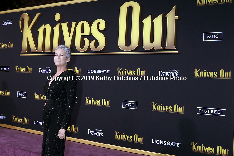 """LOS ANGELES - NOV 14:  Jamie Lee Curtis at the """"Knives Out"""" Premiere at Village Theater on November 14, 2019 in Westwood, CA"""