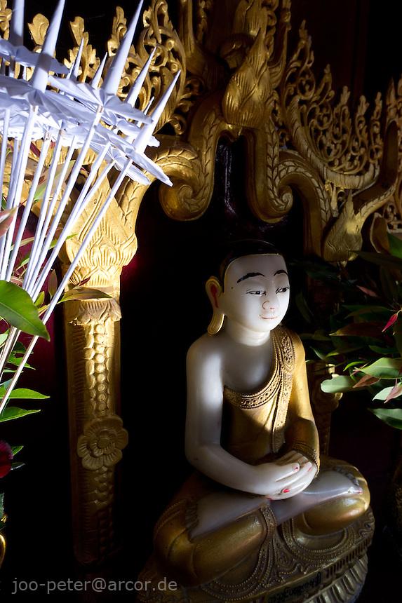 buddha shrine in temple in Mandalay