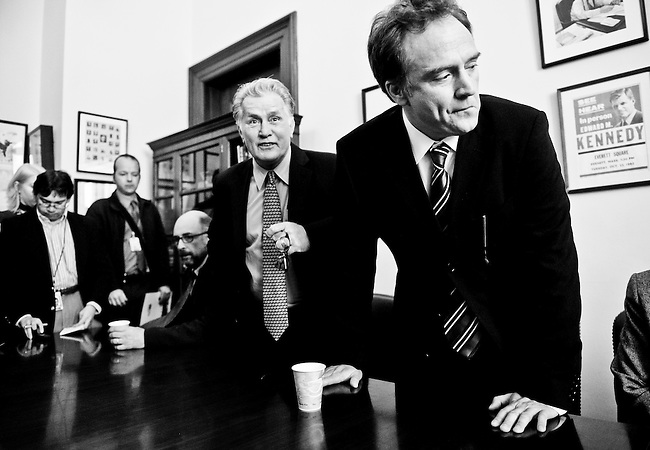 """West Wing"" cast members, from left, Richard Schiff, Martin Sheen, and Bradley Whitford attend a press conference in Sen. Kennedy's office following the event to unveil the ""Faces of the Employee Free Choice Act"" campaign on March 31, 2009."