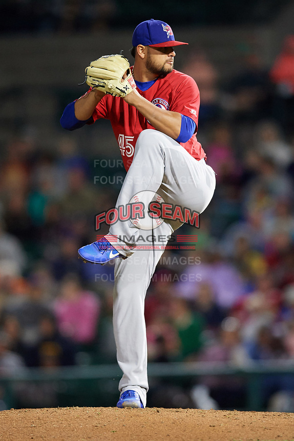 Buffalo Bisons relief pitcher Leonel Campos (45) delivers a pitch during a game against the Rochester Red Wings on August 25, 2017 at Frontier Field in Rochester, New York.  Buffalo defeated Rochester 2-1 in eleven innings.  (Mike Janes/Four Seam Images)