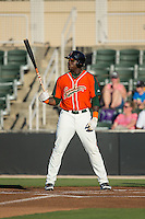 K.J. Woods (32) of the Greensboro Grasshoppers at bat against the Kannapolis Intimidators at CMC-Northeast Stadium on June 11, 2015 in Kannapolis, North Carolina.  The Intimidators defeated the Grasshoppers 7-6.  (Brian Westerholt/Four Seam Images)