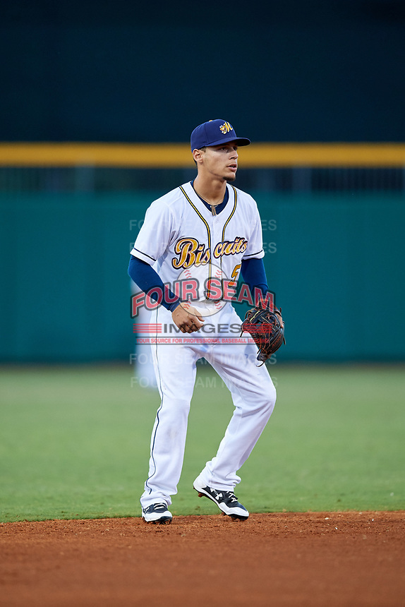 Montgomery Biscuits shortstop Andrew Velazquez (5) during a game against the Mississippi Braves on April 24, 2017 at Montgomery Riverwalk Stadium in Montgomery, Alabama.  Montgomery defeated Mississippi 3-2.  (Mike Janes/Four Seam Images)