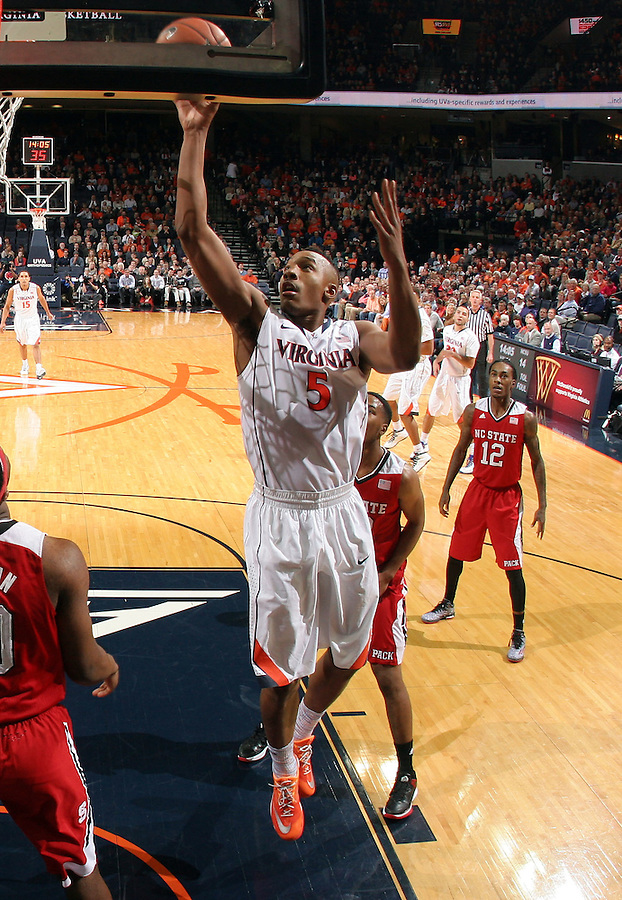 Virginia forward Darion Atkins (5) during the game Jan. 7, 2015, in Charlottesville, Va. Virginia defeated NC State  61-51.