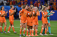 20190703 - LYON , FRANCE : Dutch players with Desiree Van Lunteren , Shanice Van De Sanden ,  Inessa Kaagman and Jackie Groenen pictured celebrating after winning the female soccer game between Netherlands – Oranje Leeuwinnen - and Sweden  , a knock out game in the semi finals of the FIFA Women's  World Championship in France 2019, Wednesday 3 th July 2019 at the Stade de Lyon  Stadium in Lyon  , France .  PHOTO SPORTPIX.BE | DAVID CATRY