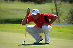 Jamie Elson (ENG) lines up his putt on the 15th green during Day 1 Thursday of the Open de Andalucia de Golf at Parador Golf Club Malaga 24th March 2011. (Photo Eoin Clarke/Golffile 2011)