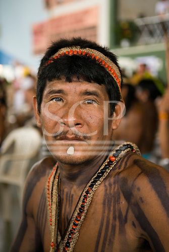 """Altamira, Brazil. """"Xingu Vivo Para Sempre"""" protest meeting about the proposed Belo Monte hydroeletric dam and other dams on the Xingu river and its tributaries. Moroia Parakana."""