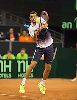 September 14, 2014, Netherlands, Amsterdam, Ziggo Dome, Davis Cup Netherlands-Croatia, Marin Cilic (CRO)<br /> Photo: Tennisimages/Henk Koster