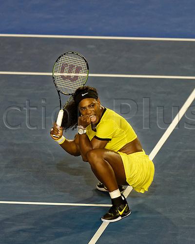 28.01.2016. Melbourne, Australia. Serena Williams  (USA) in action against Agnleszka Radwanska (POL) during their women's singles match at the Australian Open Tennis Championship at Melbourne Park, Australia. Williams beat Radwanska 6:0, 6:4