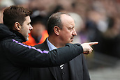 2nd February 2019, Wembley Stadium, London England; EPL Premier League football, Tottenham Hotspur versus Newcastle United; Tottenham Hotspur Manager Mauricio Pochettino speaks with Newcastle United Manager Rafa Benitez about the falling ice