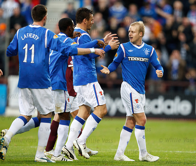 Steven Naismith takes the acclaim after scoring for Rangers