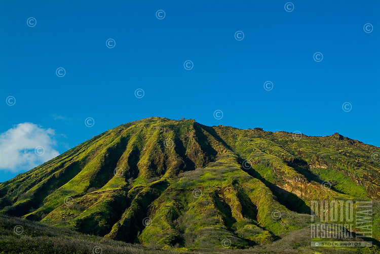 Koko head crater as seen from the Kaiwi coastline which winds around the east side of Oahu