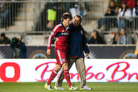 Wells Thompson (15) of the Chicago Fire walks off the fields after receiving his second yellow card of the match. The Philadelphia Union defeated the Chicago Fire 1-0 during a Major League Soccer (MLS) match at PPL Park in Chester, PA, on May 18, 2013.