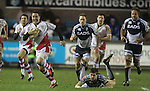 17 February 2012; Paddy Wallace leaves Gavin Evans trailing as he bursts through the Blues defence,  Celtic League, Cardiff Blues v Ulster, Cardiff Arms Park, Cardiff, Wales..Picture credit: Steve Pope / SPORTINGWALES