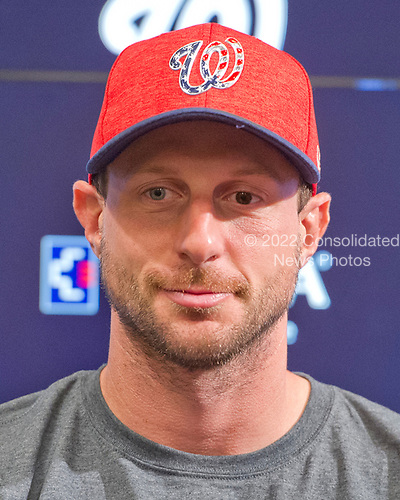 All-Star Washington Nationals pitcher Max Scherzer poses for a photo prior to the game against the New York Mets at Nationals Park in Washington, D.C. on Monday, July 3, 2017.<br /> Credit: Ron Sachs / CNP<br /> (RESTRICTION: NO New York or New Jersey Newspapers or newspapers within a 75 mile radius of New York City)