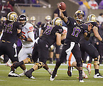 Washington Huskies quarterback Keith Price passes against the Oregon State Beavers at CenturyLink Field in Seattle, Washington on October 27, 2012.  Price completed 18 of 30 passes and had one intercepted in the Huskies upset 20-17 win over the 7th ranked Beavers .  ©2012. Jim Bryant Photo. ALL RIGHTS RESERVED.