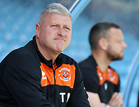 Blackpool's Manager Terry McPhillips looks on from the dugout before kick off<br /> <br /> Photographer David Shipman/CameraSport<br /> <br /> The EFL Sky Bet League One - Scunthorpe United v Blackpool - Friday 19th April 2019 - Glanford Park - Scunthorpe<br /> <br /> World Copyright © 2019 CameraSport. All rights reserved. 43 Linden Ave. Countesthorpe. Leicester. England. LE8 5PG - Tel: +44 (0) 116 277 4147 - admin@camerasport.com - www.camerasport.com