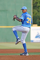 Myrtle Beach Pelicans pitcher Julio Teheran #39 pitching during a game vs. the Potomac Nationals at BB&T Coastal Field in Myrtle Beach, SC, on June 16, 2010. The Nationals defeated the Pelicans 13-4. Photo By Robert Gurganus/Four Seam Images