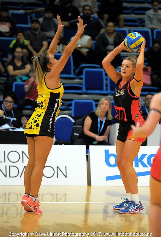 Action from the Beko Netball League match between Netball Central Zone and Netball Waikato Bay Of Plenty at Te Rauparaha Bank Arena in Wellington, New Zealand on Sunday, 2 April 2017. Photo: Dave Lintott / lintottphoto.co.nz